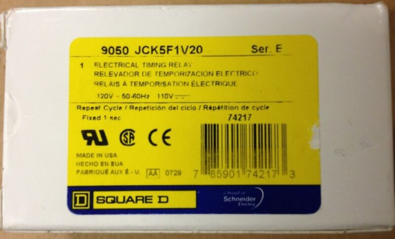 SQUARE D 9050JCK5F1V20 TIMING RELAY SERIES E NEW