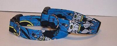 Wet Nose Designs Batman Dog Collar on Blue Dark Knight Caped Crusader Superhero - Superhero Dog Collars