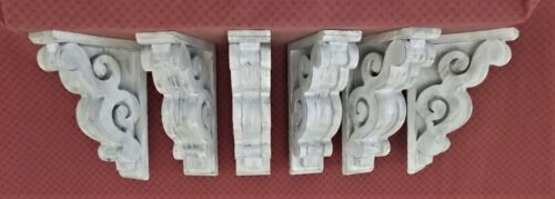 Lot of SIX (6) Victorian Style Wood Corbels - Weather White (#6108 WW 051-056)