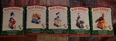 1998 Disney Hallmark Merry Miniature Mickey Express Train Set of 5 Figurines