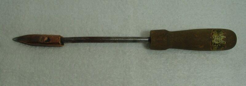 "Vintage Copper Head Soldering Iron, Wooden Handle, Steel Rod, 12"" Long"