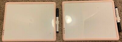 2 Pack 8.5 X 11.5 Small Dry Erase White Boards With Pink Border And Markers