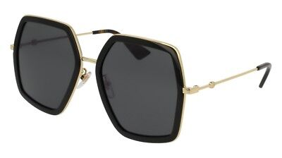 NEW Authentic Gucci Women's Sunglasses GG0106S-001 56mm Black-Gold / Grey Lens