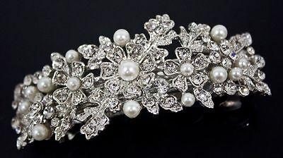 beautiful elegant wedding bridal barrette pearl & crystal hair clip USA seller