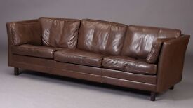 Danish furniture producer - Three-seater dark brown leather sofa from 1970's