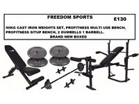 HOME GYM SPECIAL 2 BENCHES 90KG IRON WEIGHTS BRAND NEW BOXED
