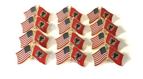 LOT OF 12 Albania Friendship Flag Lapel Pins - Albanian Flag Pin