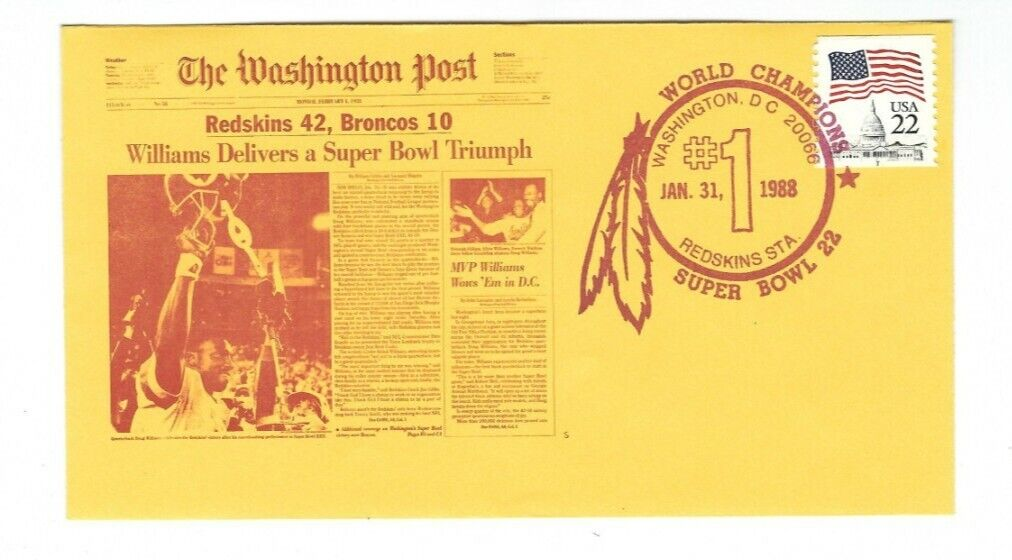 RARE Super Bowl 22 Champions Washington Redskins Doug Williams Washington Post  - $4.95