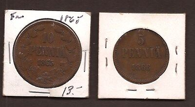Lot of 2 Coins - Finland (Grand Duchy) 1865-1866, Copper - 5 & 10 Pennia - VF
