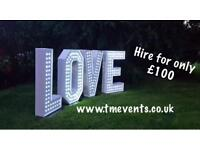 DJ Hire, Mascot Hire, LED Love letters, Party Supplies