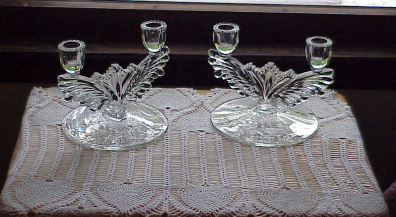 Art Deco Clear Glass Candlesticks Pair Etched Winged Fan Design 30