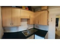 Kitchen wall and base units, wood laminate - used but decent condition