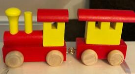 Wooden Train and carriage with spare letters