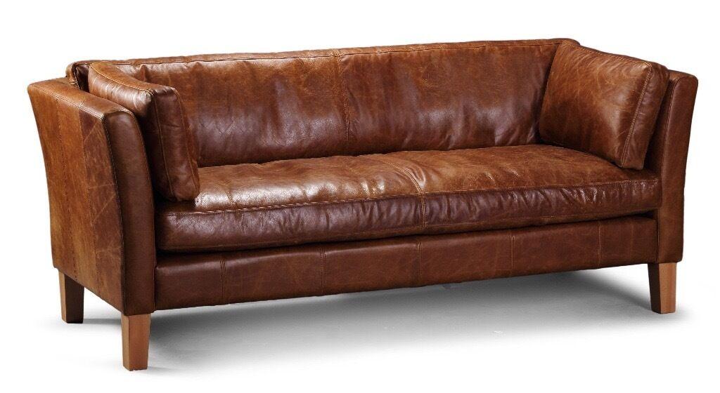 Tan Leather 3 seater Barkby sofa from Vintage Sofa Company ...