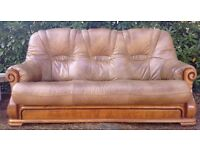 DINSDAG WOODSTACK REAL GENUINE LEATHER SOFA HIGH QUALITY UNTOUCHED - LOCAL FREE DELIVERY