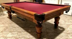 9 CANADA BILLIARDS SLATE POOL TABLE INSTALLED WITH ACCESSORIES