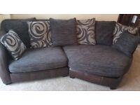 DFS 3 piece suite - 3 seater sofa, 2 seater, armchair & footstool, dark brown leather / fabric