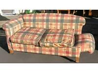Edwardian oak framed drop arm sofa