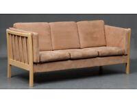 Vintage retro Danish beige wooden 3 seater alcantara sofa couch mid century