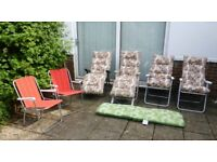 SIX PATIO CHAIRS - 2 RECLINE WITH LEG SUPPORT, 2 BACK RECLINE, 2 CHAIRS