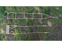 Kids Outdoor Wood / Rope Swing and Ladder Set