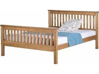 High End Double Solid Pine Bedframe with High Footend