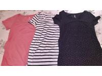 H&M Maternity Size Medium shirts tops pink, navy dots and blue/white stripe