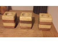 Hand Made Hard Wood Tea Light Holders, set of 3.