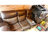 *PAIR* - 3 Seater & 2 Seater 'Love Chair' Electric Reclining Chocolate Brown Leather Settees / Sofas