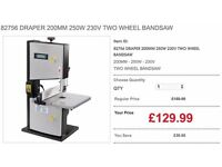 82756 DRAPER 200MM 250W 230V TWO WHEEL BANDSAW