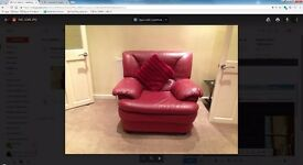 red 3 seat sofa and armchair - excellent condition