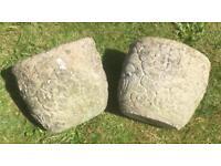 Flower Patterned Stone Pots