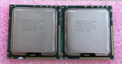 Matching Pair of Intel Xeon Six-Core X5680 SLBV5 3.33GHz 12MB LGA1366 CPU Tested