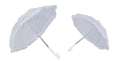 34 white lace ruffled victorian parasol frilly