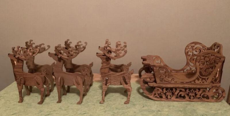 Vintage Christmas Wooden Santa Sleigh With Reindeer And  Sled Wood Carved