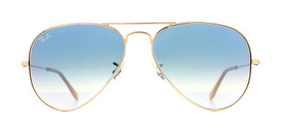Ray-Ban Aviator RB3025 Sunglasses Gold 001/3F Light Blue Gradient 55mm