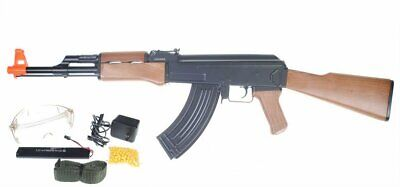 AK47A 6mm Airsoft Electric Rifle Full Auto AEG Gun+ Battery + Charger + Glasses
