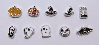 Halloween bat witch pumpkin ghost skull jack Floating charms for living locket