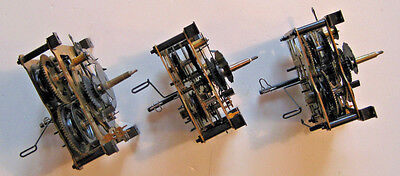 Three Vintage Cuckoo Clock Movements for Parts or Repair