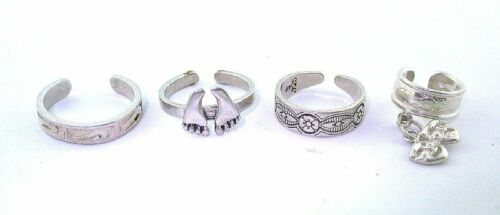 8.05 GRAMS FOUR ASSORTED PURE STERLING SILVER TOE RINGS CLOSEOUT ASJC26