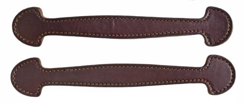 Set of 2 Havana Double & Stitched Leather Steamer Trunk Handles #102HAV