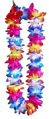 SIX Hawaii Silk Flower Lei Luau Party Hula Wedding Graduation RAINBOW QTY 6 LEIS