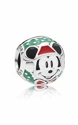 Disney Mickey Round Charm - Genuine Pandora Charm Silver DISNEY Santa Mickey Round Enamel 797502ENMX