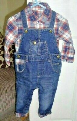 BABY BOYS CLOTHES OUTFIT 9-12 MONTHS - CHECKED SHIRT & DUNGAREES SET