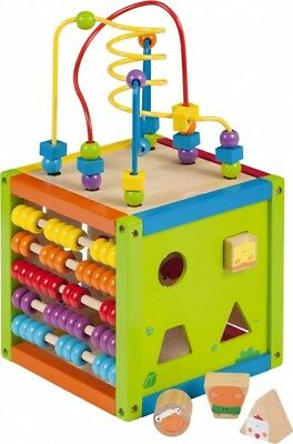 WOODEN ACTIVITY CUBE FOR BABYS TODDLERS LEARNING ACTIVE PLAYING WOODEN TOYS