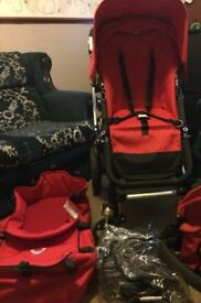 Preowned: Bugaboo Cameleon Red Travel System Single Seat Stroller