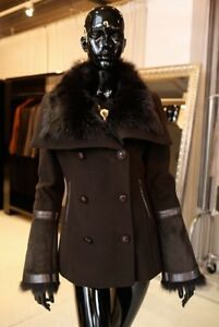 Mackage Wool coat with real black fur xs