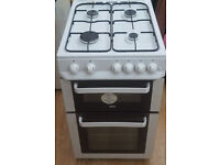 1 year old Zanussi Gas cooker. 50 cm wide, clean as new. 4 hobs, Oven and Grill,splashback. Delivery