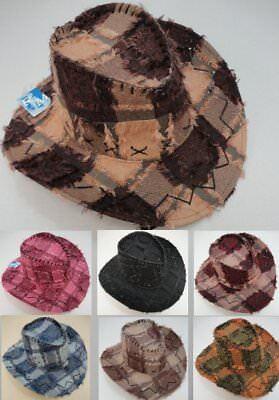 72pc Plaid Fringe Cowboy Hats Zig Zag Western Hat Bulk Wholesale Lot Black Brown - Bulk Cowboy Hats