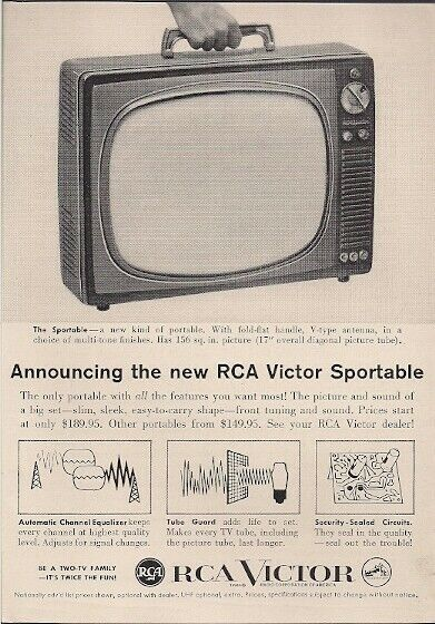 1959 Vintage Ad RCA Victor Sportable TV New Kind of Portable